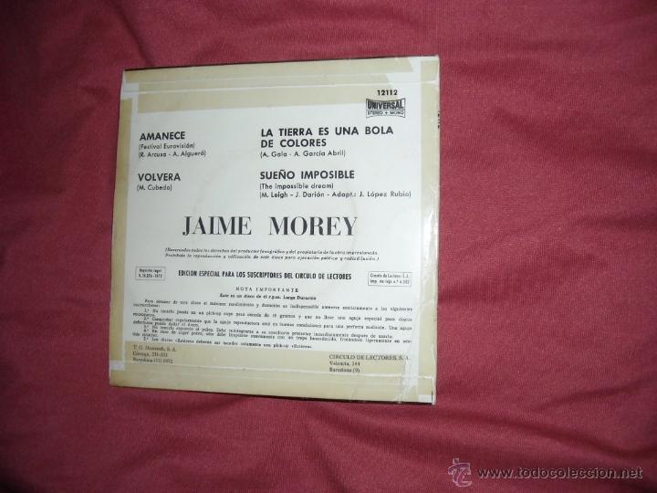 Discos de vinilo: JAIME MOREY. AMANECE + 3. EP. ORLADOR 1972. ver foto adicional eurovision - Foto 2 - 39359767