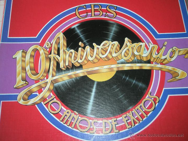 ALBÚM-3 DISCOS-VINILO-CBS-10º ANIVERSARIO-10 AÑOS DE ÉXITOS-. (Música - Discos - LP Vinilo - Pop - Rock - Internacional de los 70)
