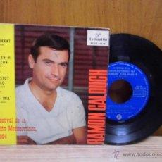 Discos de vinilo: RAMON CALDUCH / VI FESTIVAL DE LA CANCION MEDITERRANEA 1964 / FIESTA EN MI CORAZON +3 / EP . Lote 39488180