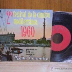 Discos de vinilo: NELLA COLOMBO EP SELLO ZAFIRO AÑO 1960 2º FESTIVAL DE LA CANCION MEDITERRANEA. Lote 39488204