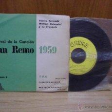 Discos de vinilo: IX FESTIVAL DE LA CANCION DE SAN REMO 1959 VOLUME N 4 TONINA TORRIELLI -WILLIAM GALASSINI ORQUESTA . Lote 39488546