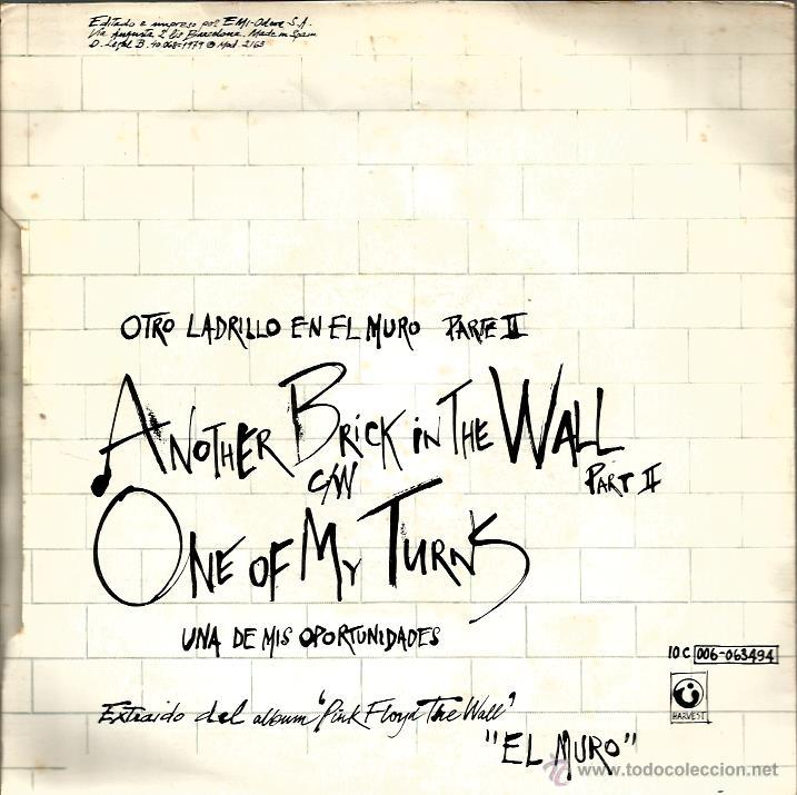 Discos de vinilo: SG PINK FLOYD : ANOTHER BRICK IN THE WALL - Foto 2 - 39510474