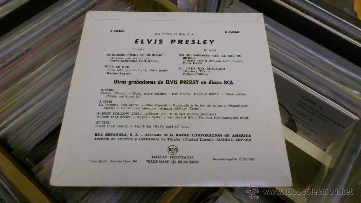 Discos de vinilo: Elvis presley Quiereme como tu quieras Ep disco de vinilo de 7 pulgadas Raro! RCA 1962 - Foto 3 - 39562068