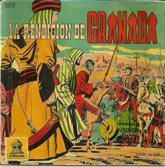 LA RENDICION DE GRANADA EP SELLO ODEON AÑO 1960 (VINILO ROJO) CON 5 PAGINAS DE COMICS (Música - Discos de Vinilo - EPs - Música Infantil)