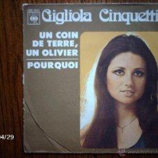 Discos de vinilo: GIGLIOLA CINQUETTI - CANTA EN FRANCÉS - UN COIN DE TERRE, UN OLIVIER + POURQUOI. Lote 39642508