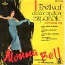 Discos de vinilo: MONNA BELL, EP, PAN, AMOR Y BESOS + 3, AÑO 1959. Lote 39644421