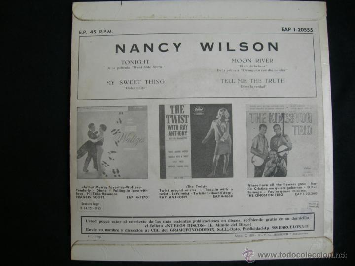 Discos de vinilo: EP NANCY WILSON // TONIGHT + 3 - Foto 2 - 39657661