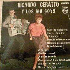 Discos de vinilo: RICARDO CERATTO Y LOS BIG BOYS TWIST EN BENIDORM EP PHILIPS VINILO AZUL. Lote 39668817