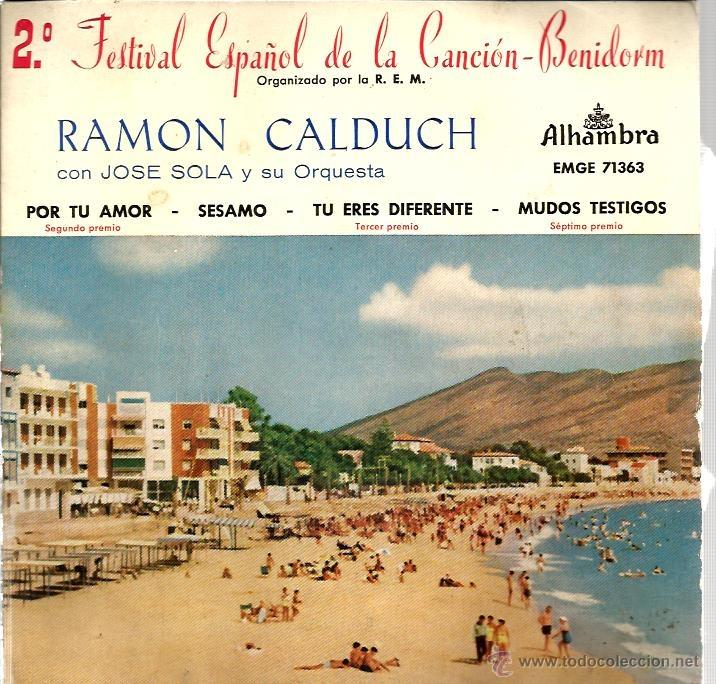 EP RAMON CALDUCH : POR TU AMOR ( FESTIVAL CANCION DE BENIDORM ) (Música - Discos de Vinilo - EPs - Otros Festivales de la Canción)