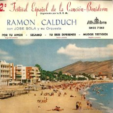 Discos de vinilo: EP RAMON CALDUCH : POR TU AMOR ( FESTIVAL CANCION DE BENIDORM ). Lote 39673450