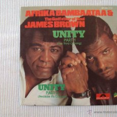 Discos de vinilo: AFRIKA BAMBAATAA & JAMES BROWN, UNITY (POLYDOR, 1984) SINGLE SPAIN GODFATHER SOUL. Lote 39673835