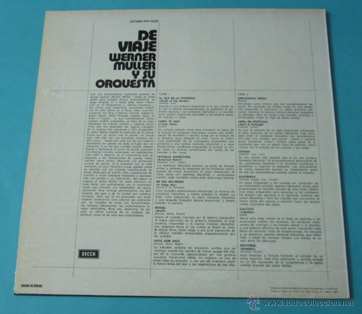 Discos de vinilo: DE VIAJE. WERNER MÜLLER Y SU ORQUESTA - Foto 2 - 39680762
