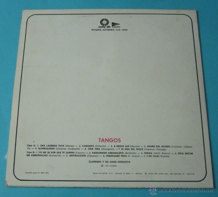 Discos de vinilo: TANGOS. CLARENZO Y SU GRAN ORQUESTA - Foto 2 - 39680774
