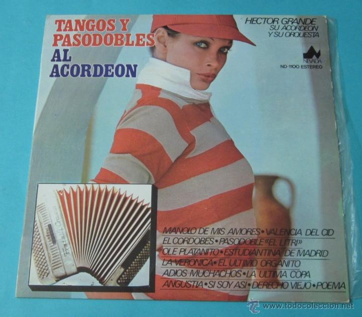 TANGOS Y PASODOBLES AL ACORDEÓN. HECTOR GRANDE Y SU ACORDEÓN Y SU ORQUESTA (Música - Discos - LP Vinilo - Orquestas)