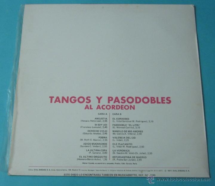 Discos de vinilo: TANGOS Y PASODOBLES AL ACORDEÓN. HECTOR GRANDE Y SU ACORDEÓN Y SU ORQUESTA - Foto 2 - 39680954