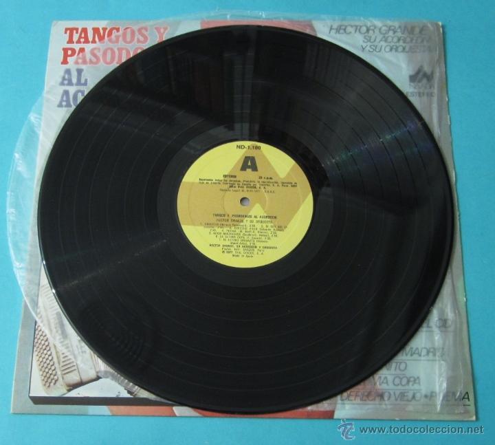 Discos de vinilo: TANGOS Y PASODOBLES AL ACORDEÓN. HECTOR GRANDE Y SU ACORDEÓN Y SU ORQUESTA - Foto 4 - 39680954