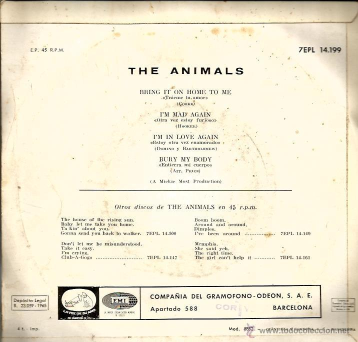Discos de vinilo: EP THE ANIMALS : BRING IT ON HOME TO ME - Foto 2 - 39683706