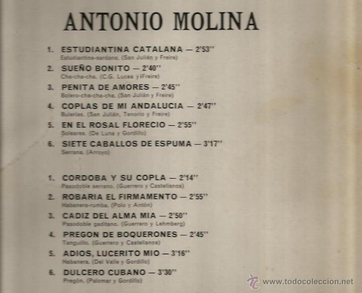 Discos de vinilo: LP ANTONIO MOLINA : ROBARIA EL FIRMAMENTO, SUEÑO BONITO, PENITA DE AMORES, ETC - Foto 2 - 39685062
