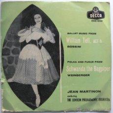 Discos de vinilo: JEAN MARTINON - GUILLERMO TELL, ROSSINI / SCHWANDA EL GAITERO, WEINBERGER - EP DECCA 1958 BPY. Lote 39690036