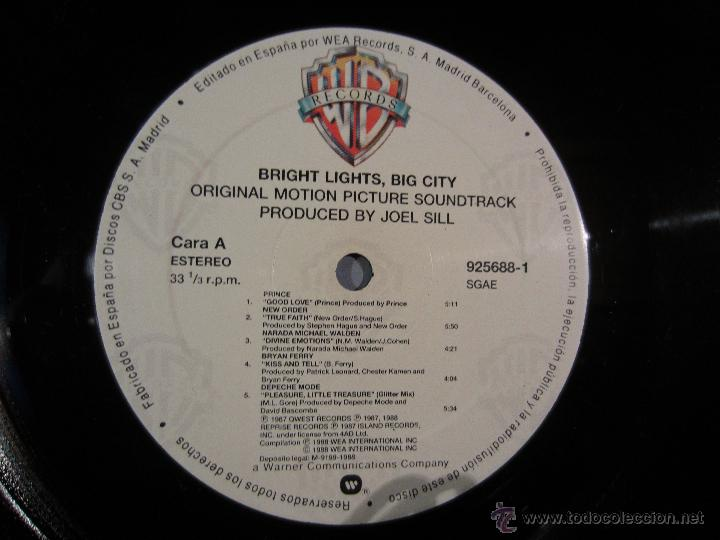 Discos de vinilo: BANDA SONORA - Bright Lights, Big City - LP WB 1988 VINILO - Foto 5 - 39707003