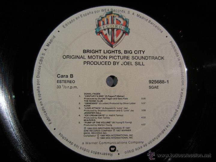 Discos de vinilo: BANDA SONORA - Bright Lights, Big City - LP WB 1988 VINILO - Foto 6 - 39707003