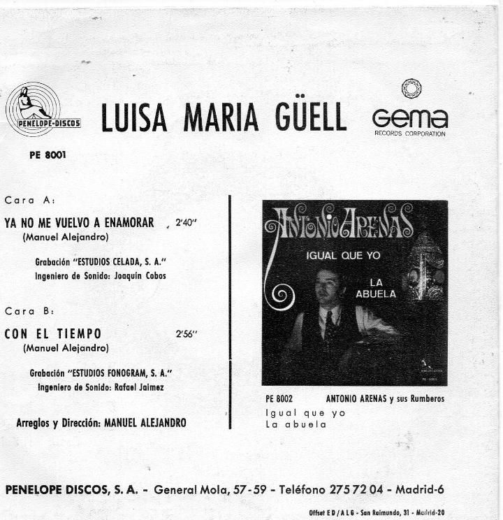 Discos de vinilo: LUISA MARIA GÜELL, SG, YA NO ME VUELVO A ENAMORAR + 1, AÑO 1969 - Foto 2 - 39715303