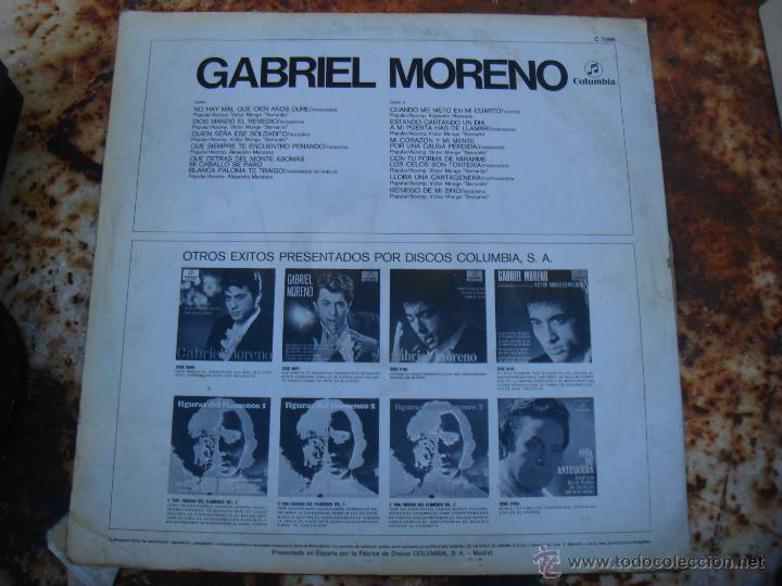 Discos de vinilo: LP GABRIEL MORENO. COLUMBIA. FLAMENCO - Foto 2 - 39734233