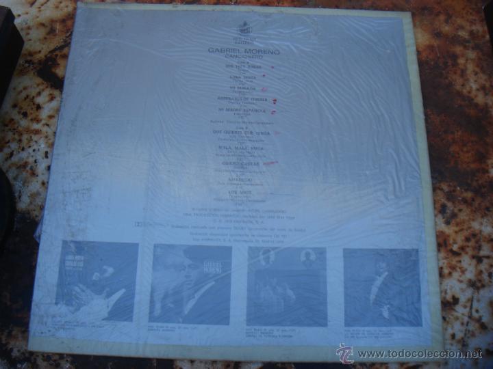 Discos de vinilo: LP GABRIEL MORENO. CANCIONERO - Foto 2 - 39734529