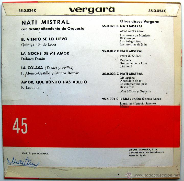 Discos de vinilo: Nati Mistral - El Viento Se La Llevó +3 - EP Vergara 1963 BPY - Foto 2 - 39753399