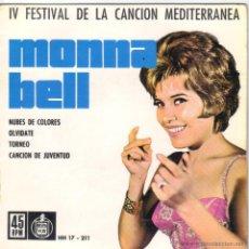Discos de vinilo: MONA BELL IV FESTIVAL DE LA CANCION MEDITERRANEA EP SELLO HISPA VOX AÑO 1962. Lote 39773728