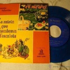 Discos de vinilo: RARO DISCO SINGLE COLOR AZUL ORIGINAL EP AÑOS 50/60 CUENTOS INFANTILES EL PATUFET LA RATETA.... Lote 39781757