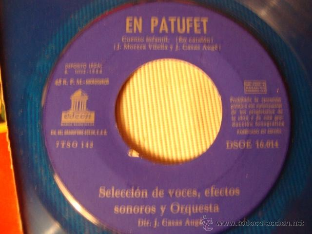 Discos de vinilo: RARO DISCO SINGLE COLOR AZUL ORIGINAL EP AÑOS 50/60 CUENTOS INFANTILES EL PATUFET LA RATETA... - Foto 2 - 39781757