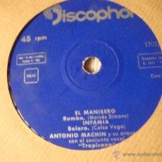 Discos de vinilo: ANTIGUO DISCO SINGLE ORIGINAL EP AÑOS 50/60 ANTONIO MACHIN. Lote 39782402