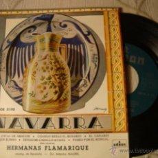 Discos de vinilo: ANTIGUO DISCO SINGLE ORIGINAL EP AÑOS 50/60 JOTAS NAVARRA HERMANAS FLAMARIQUE. Lote 39782695