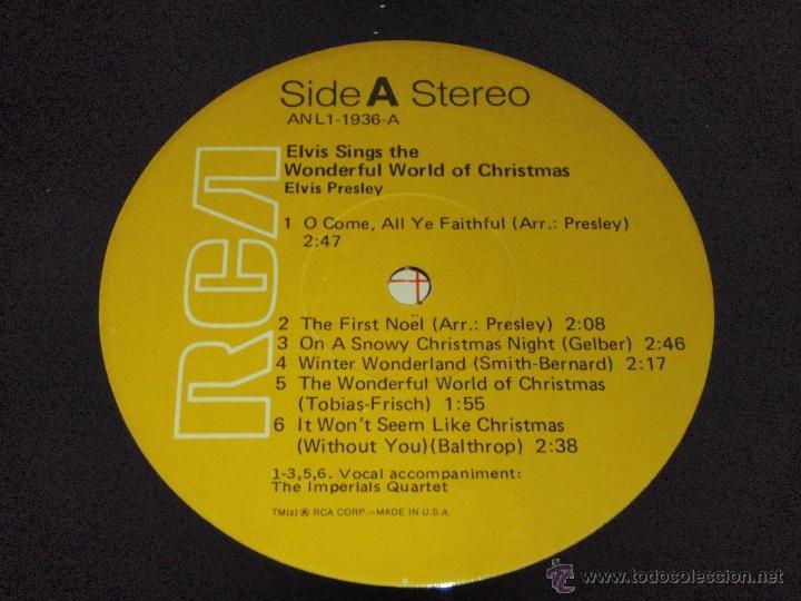 Discos de vinilo: ELVIS PRESLEY ( ELVIS sings 'THE WONDERFUL WORLD OF CHRISTMAS ) LP33 USA-1971 RCA AN L1-1936 - Foto 5 - 23385911