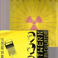 Discos de vinilo: 2 SINGLES KRAFTWERK : POCKET CALCULATOR + RADIOACTIVITY . Lote 39787475