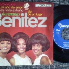 Discos de vinilo: HERMANAS BENÍTEZ. EP DISCOPHON 27.444. ESPAÑA 1965. QUIERO DECIRTE. UN AÑO DE AMOR. CUBA.. Lote 58385845