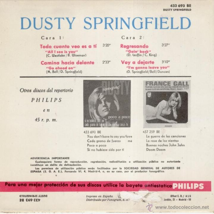 Discos de vinilo: DUSTY SPRINGFIELD - ALL I SEE IS YOU + 3 EP SPAIN 1966 VG++ / VG++ - Foto 2 - 39841905