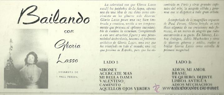 Discos de vinilo: GLORIA LASSO LP SELLO MUSART EDITADO EN MEXICO - Foto 2 - 39848786