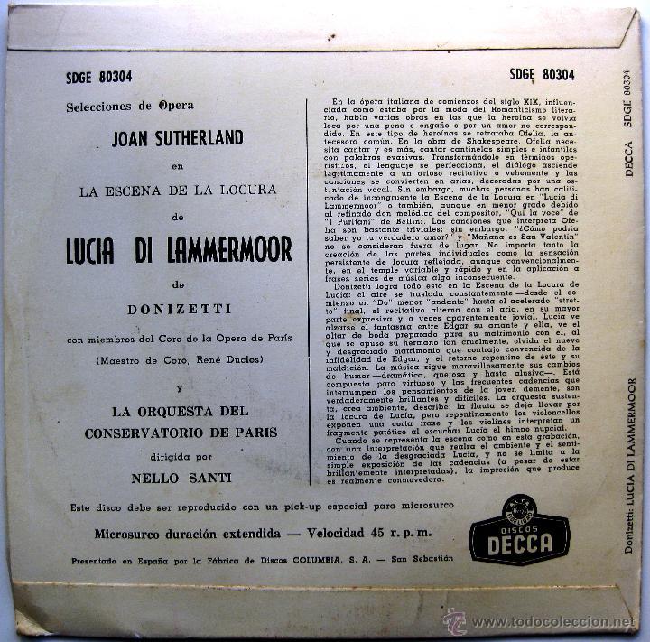 Discos de vinilo: Joan Sutherland - Lucia Di Lammermoor (Donizetti) - EP Decca 1960 BPY - Foto 2 - 39874936