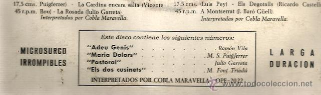Discos de vinilo: EP COBLA MARAVELLA : SARDANES SOLISTES ( ADEU GENIS + 3) - Foto 2 - 39888663