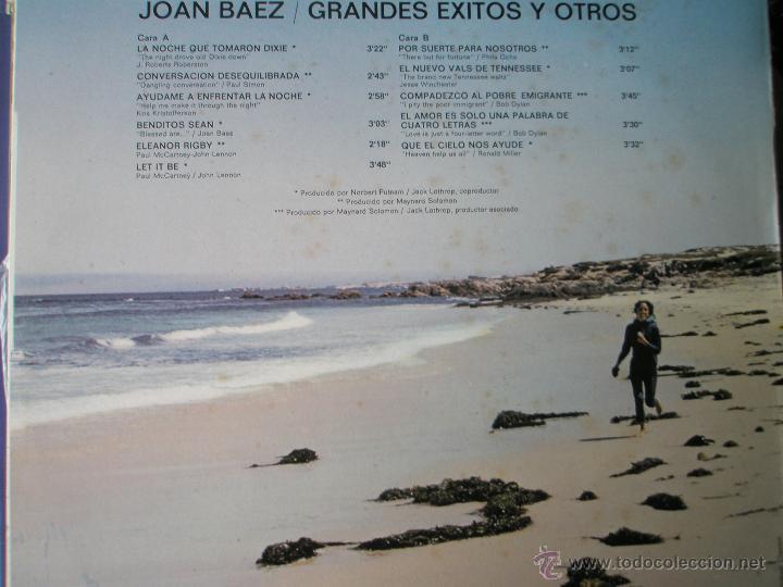 Discos de vinilo: LP-VINILO-JOAN BAEZ-GRANDES EXITOS Y OTROS-1974-11 TEMAS-HISPAVOX-. - Foto 2 - 39896572