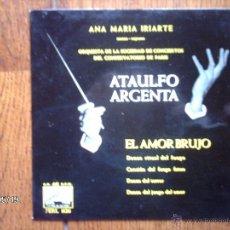 Discos de vinilo: ATAULFO ARGENTA - EL AMOR BRUJO - ORQUESTA DE LA SOCIEDAD DE CONCIERTOS DEL CONSERVATORIO DE PARIS . Lote 39937608