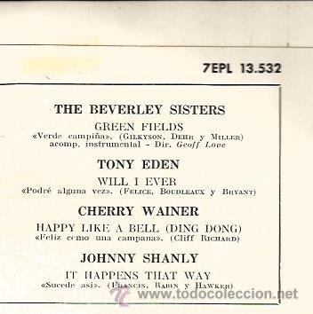 Discos de vinilo: EP THE BEVERLEY SISTERS + TONY EDEN + CHERRY WAINER ( CANCION DE CLIFF RICHARD) + JOHNNY SHANLY - Foto 2 - 39909592
