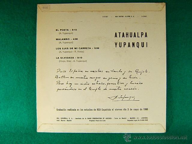 Discos de vinilo: EL POETA-MALAMBO-LA OLVIDADA-ATAHUALPA YUPANQUI-DEDICATORIA MANUSCRITA A J.Mª GISPERT GUINOVART-1968 - Foto 2 - 39947163