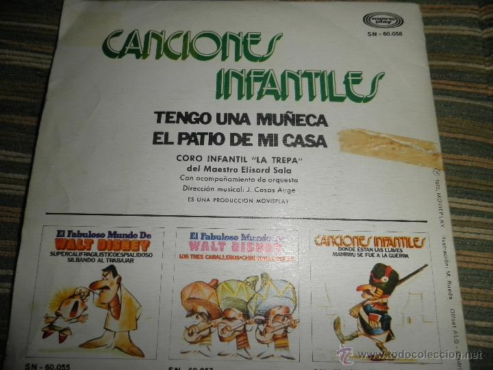 Discos de vinilo: CANCIONES INFANTILES - TENGO UNA MUÑECA / EL PATIO DE MI CASA SINGLE MOVIEPLAY 1972 PORTADA DOBLE - Foto 6 - 39974271
