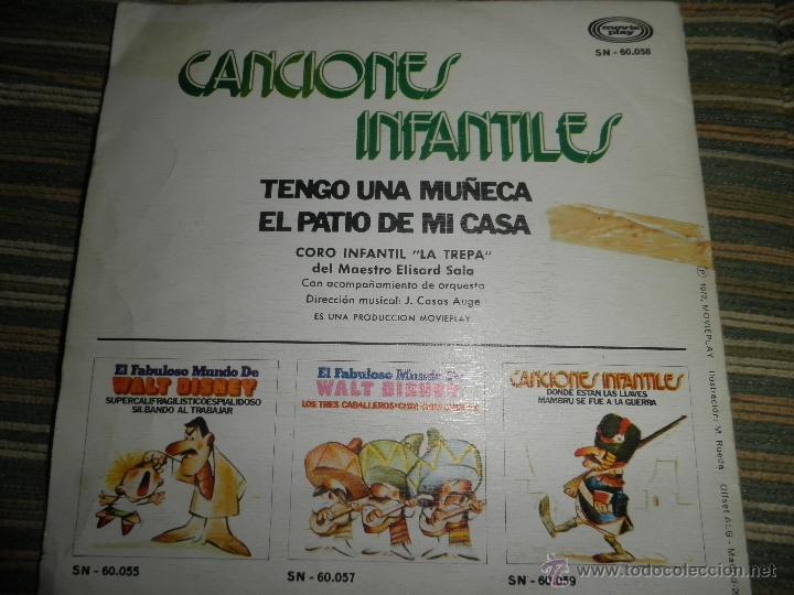 Discos de vinilo: CANCIONES INFANTILES - TENGO UNA MUÑECA / EL PATIO DE MI CASA SINGLE MOVIEPLAY 1972 PORTADA DOBLE - Foto 11 - 39974271