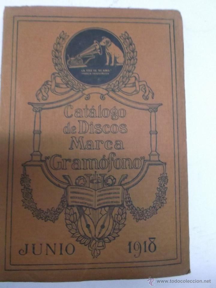 CATALOGO DE DISCOS MARCA GRAMOFONO JUNIO 1918 (Música - Discos - Singles Vinilo - Solistas Españoles de los 50 y 60)