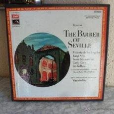 Discos de vinilo: THE BARBER OF SEVILLE,EL BARBERO DE SEVILLA,CAJA CON 3 LP,VICTORIA DE LOS ANGELES,MAS LIBRETO. Lote 40001127