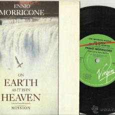 Discos de vinilo: ENNIO MORRICONE SINGLE THE MISSION ON EARTH AS IT IS IN HEAVEN INGLATERRA 1986. Lote 40027647